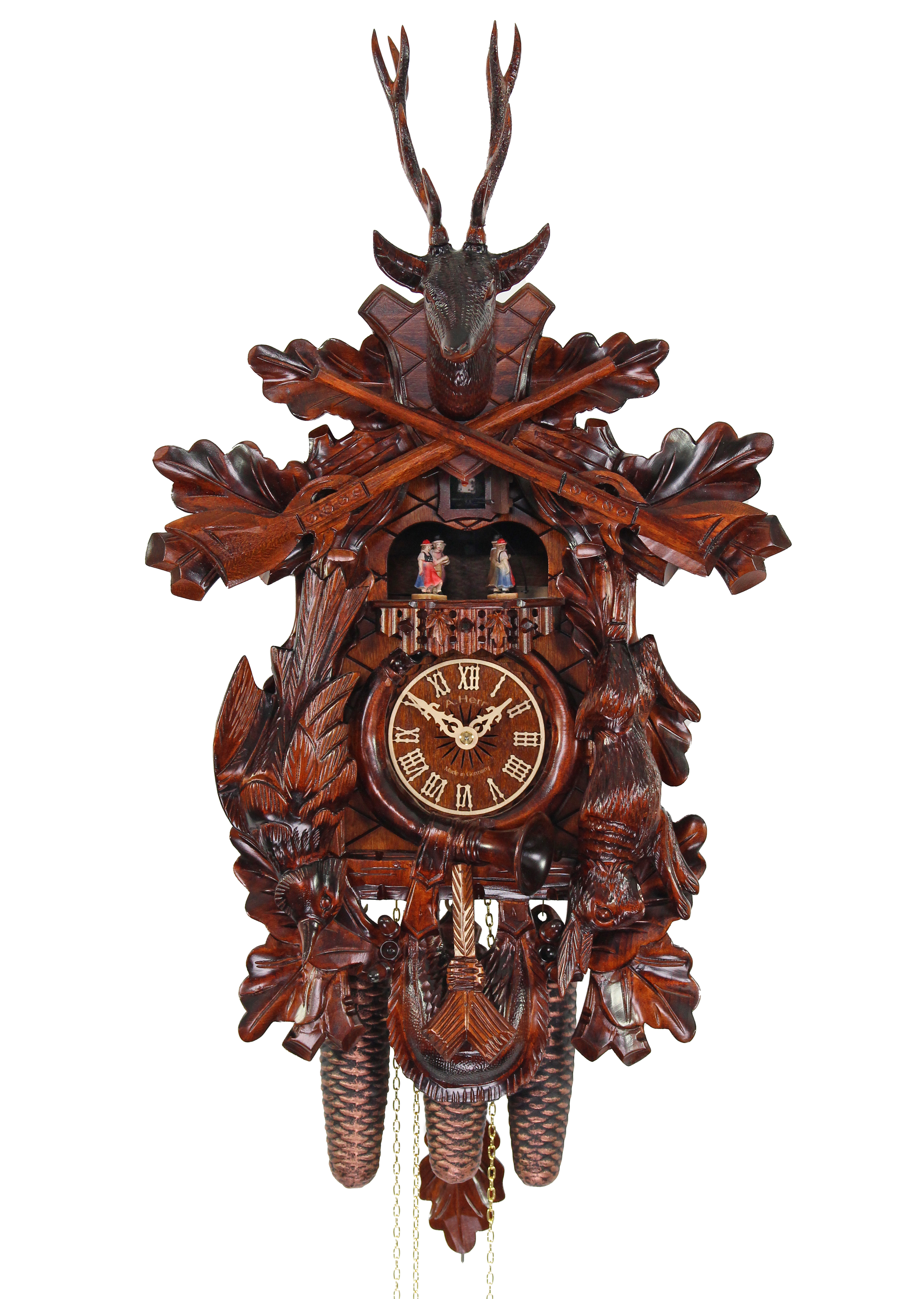 Adolf Herr Cuckoo Clock After The Hunt Handshingled 8 Day With Music Nr Ah 585 1 8tmt